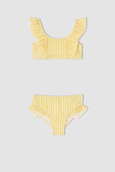 Kız Çocuk Çizgili Esnek Bikini Takımı