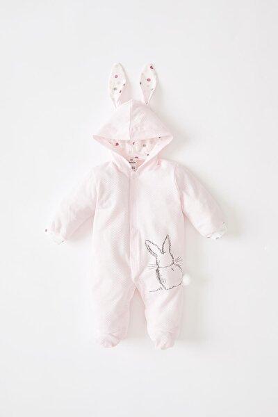 Kız Bebek Kapüşonlu Dokulu Kumaş Tavşan Kulaklı Tulum W0950A221AU