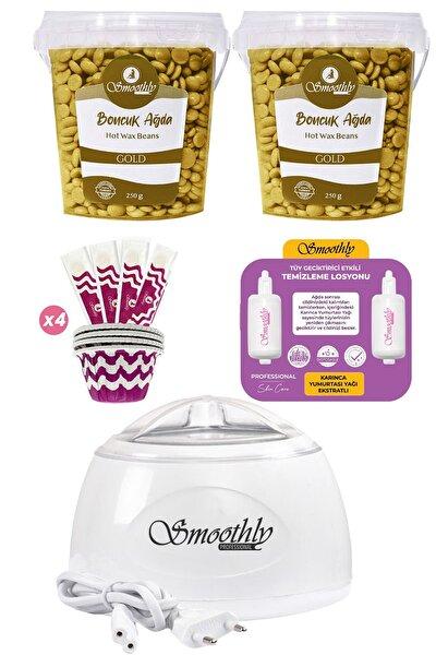2 Kutu Gold Premium Boncuk Ağda Seti, Beyaz Ağda Isıtıcı Makine, Tüy Geciktirme Etkili Yağ, Spatula
