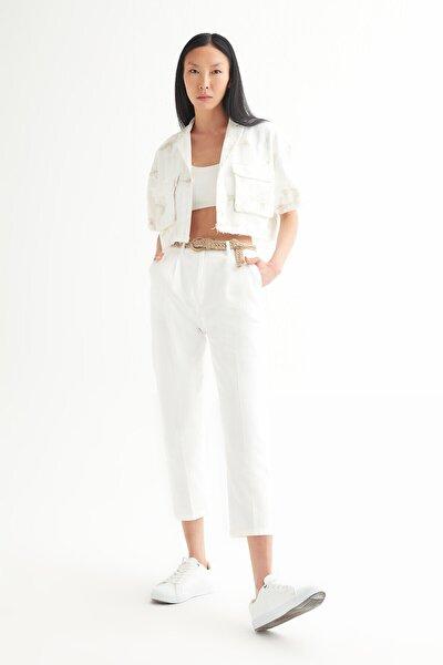 Kadın Beyaz Yüksek Bel Cigarette Kemerli Pantolon