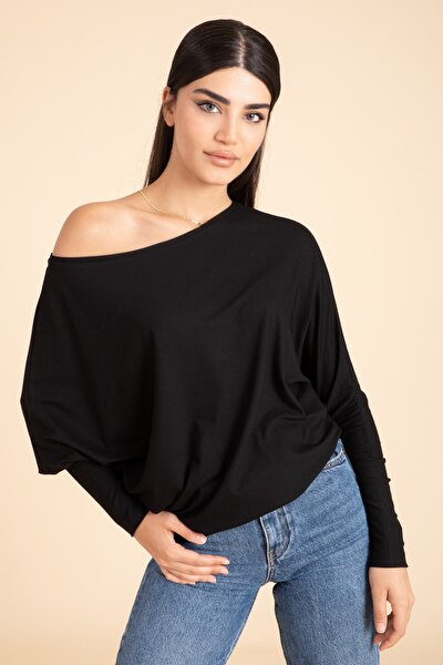 Kadın Siyah Yarasa Kol Turlu Viskon Bluz