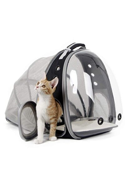 Fileli Açılabilir Şeffaf Astronot Kedi Köpek Evcil Hayvan Taşıma Çantası Siyah