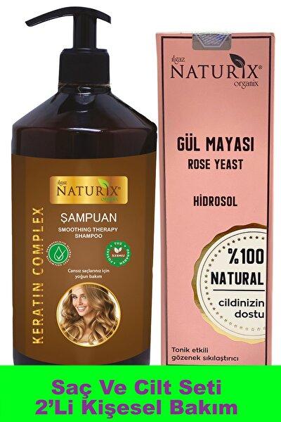 Tonik Etkili Rose Water %100 Doğal 250 Ml Gül Suyu + 600 Ml Keratin Saç Şampuanı 2'li Bakım Seti