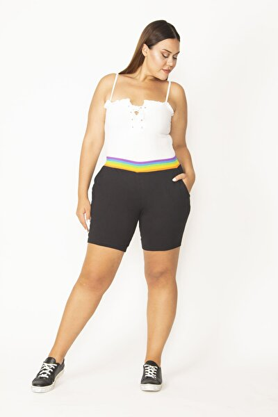 Kadın Siyah Pamuklu Kumaş Beli Renkli Lastikli Cepli Şort 65N27569