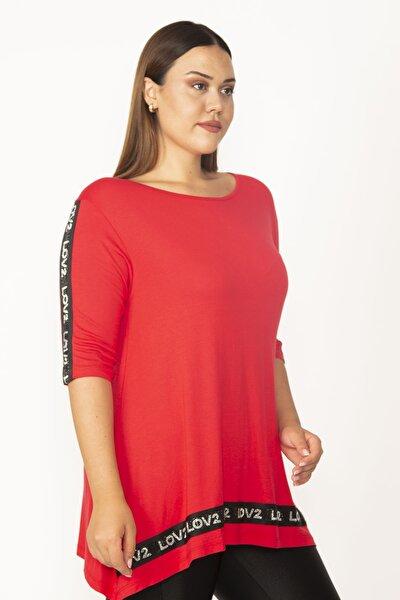 Kadın Kırmızı Omuz Ve Etek Ucu Taş Detaylı Viskon Tunik 65N27321
