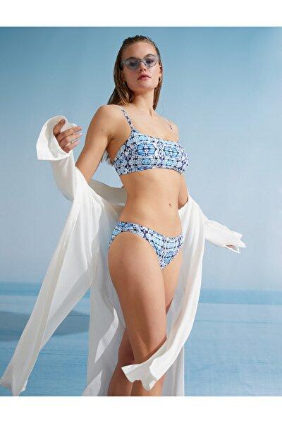 Ince Askili Bikini Üstü Straplez Baskili
