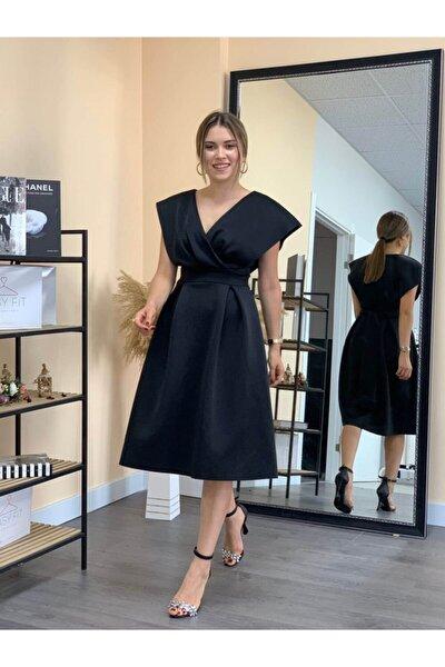 Scuba Kumaş Pileli Midi Elbise - Siyah