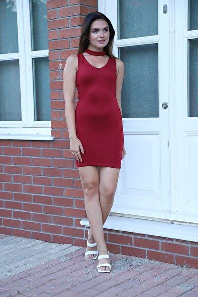 Boyun Bantlı Scuba Mını Elbise