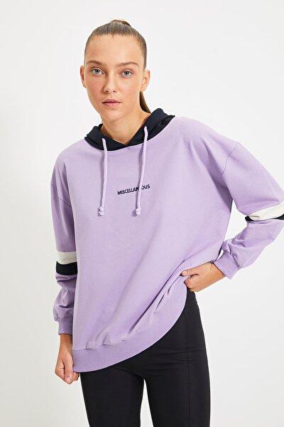 Lila Nakışlı Kapüşonlu Spor Sweatshirt TWOAW21SW0665