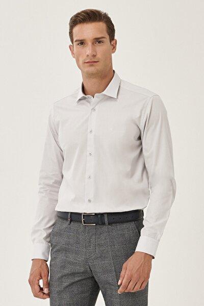 Erkek Gri Tailored Slim Fit Klasik Yaka Gömlek