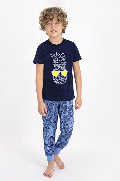 Erkek Çocuk Lacivert Kısa Kol Pijama Takımı