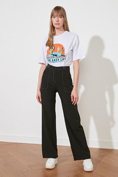 Siyah Cep Detaylı Pantolon TWOSS21PL0288