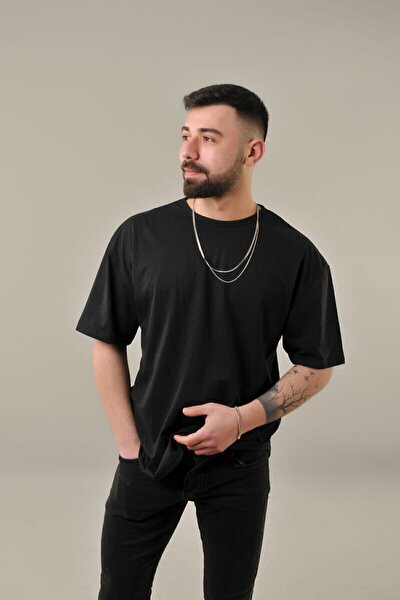 Erkek Siyah Oval Kesim Oversize T-shirt