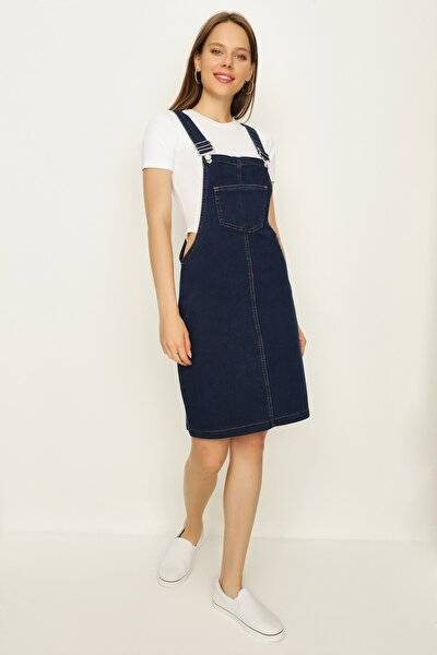 Kadın Mavi Askılı Denim Elbise