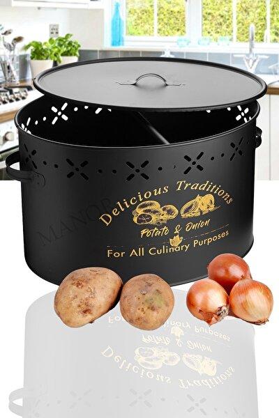 2bölmeli Ferforje Patates Soğan Kutusu-siyah
