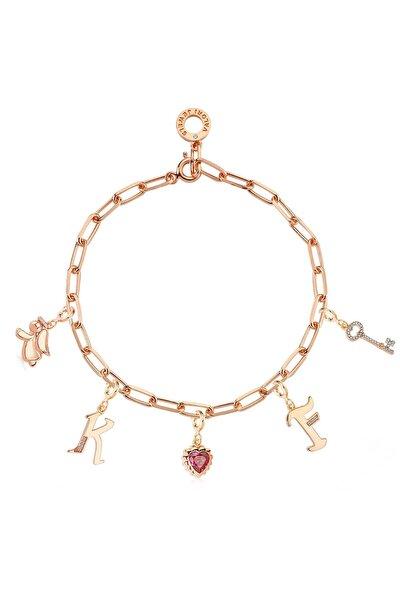 Harf Melek Kalp Anahtar, Zirkon Taşlı, Rose Gümüş Charm Bileklik Kombini