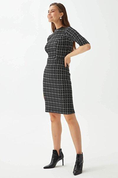 Deri Garnili Kazayağı Elbise
