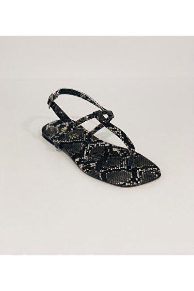 Kadın Beyaz Yılan Desenli Sandalet