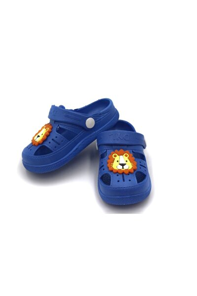 Çocuk Günlük Ortopedik Kaymaz Taban Hayvan Figürlü Çocuk Sandalet Terlik - Mavi
