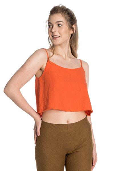 Oranj Pamuklu Crop Bluz