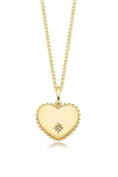 Kalp Yıldız, Zirkon Beyaz Taşlı, Altın Rengi Gümüş Kolye