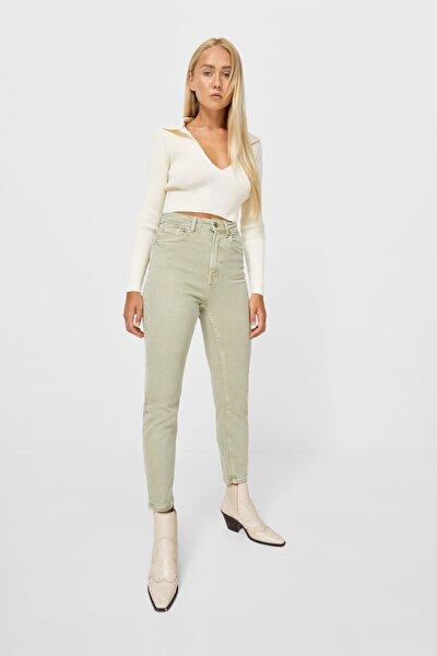 Kadın Haki Slim Fit Mom Jean