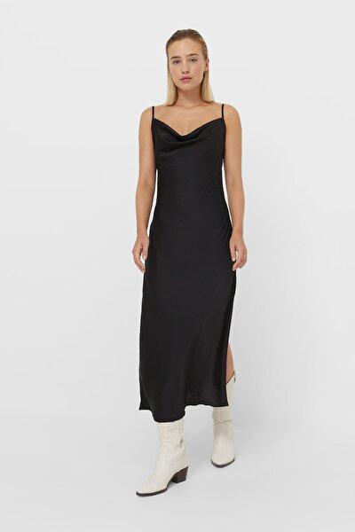 Kadın Siyah Midi Kamisol Elbise