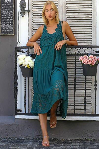 Kadın Petrol Mavisi İtalyan Özel Tasarım Dantel Kolsuz Astarlı Uzun Elbise M10160000EL94341