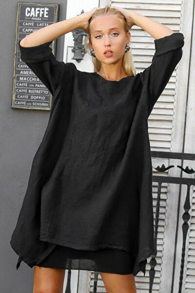 Kadın Siyah İtalyan Nakışlı Uzun Ayar Düğmeli Kol Etek Ucu Asimetrik Keten Elbise M10160000EL94380