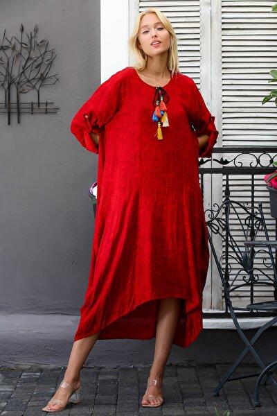 Kadın Bordo Sıfır Yaka Püskül Bağlamalı Uzun Kolları Ayarlı Salaş Dokuma Elbise M10160000EL94409
