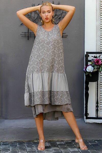 Kadın Vizon İtalyan Dantel Kolsuz İki Katlı Uzun Elbise M10160000EL94334