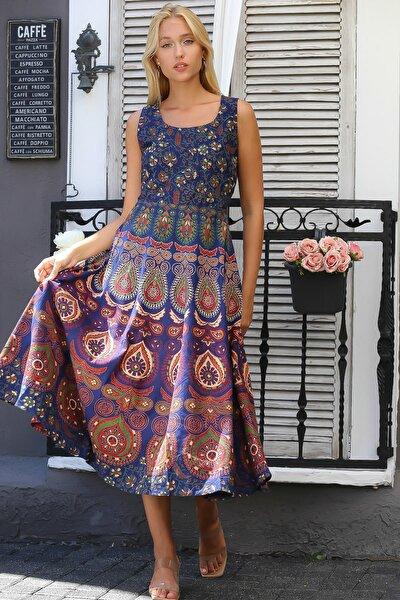 Kadın Lacivert Hint İşi Kolsuz Desenli Sırtı Kuşak Detaylı Kloş Etek Dokuma Elbise M10160000EL94398