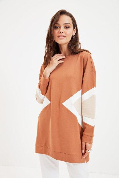 Camel Panelli Örme Sweatshirt TCTAW22TW0085