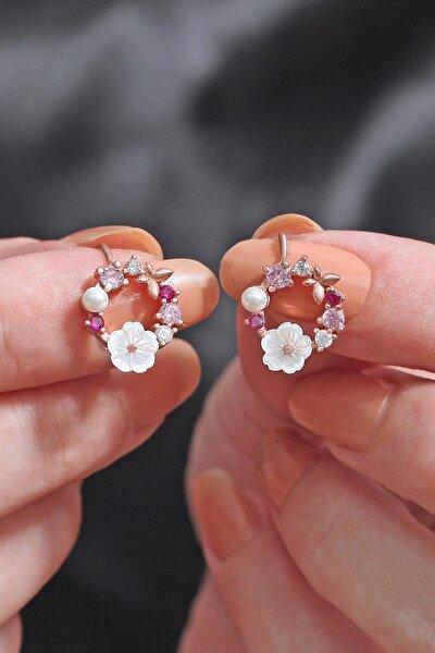 Orkide Ve Renkli Taşlı 14 K Rose Altın Kaplama Kadın Küpe