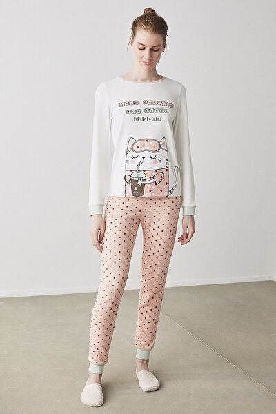 Coffee Cat Termal Pijama Takımı
