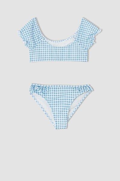 Kız Çocuk Pötikareli Esnek Bikini Takımı