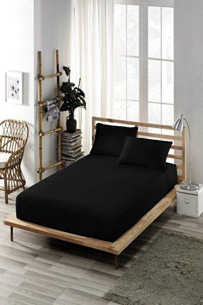 (Pamuklu Penye) Çift Kişilik Lastikli Çarşaf (Yüksek Yataklara Uygun) Siyah (30 cm Derinlik)
