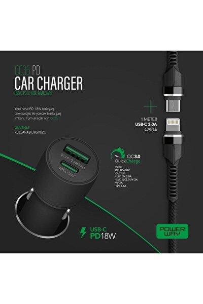 Power Way Type-c Usb-ipohone Şarj 18w Hızlı Araç Şarj Cihazı (ÇAKMAKLIK) Quick Araç Içi Hızlı Şarj