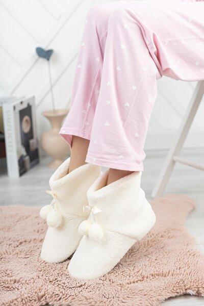 Rp-ponpon Tüylü Kadın Panduf Ev Ayakkabısı Ses Yapmayan