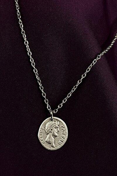 Antik Roma Madalyon Mat Gümüş Kaplama Zincir Kolye