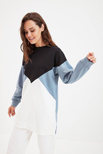 Siyah Renk Bloklu Örme Sweatshirt TCTAW22TW0060
