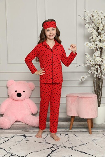 Kız Çocuk Kırmızı Kalpli Pijama Takımı