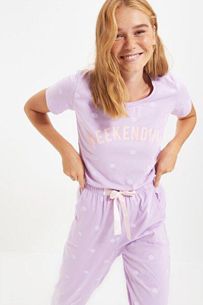 Lila Puantiyeli Örme Pijama Takımı THMSS20PT0080