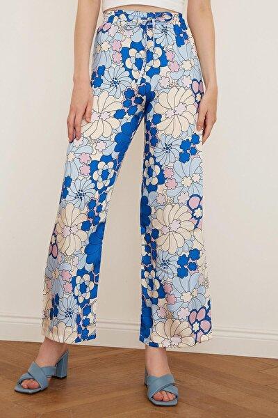 Çiçek Desen Saten Pantolon Mavi