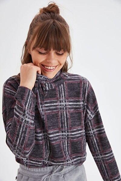 Kadın Antrasit Yakası Bağcıklı Ekose Bluz