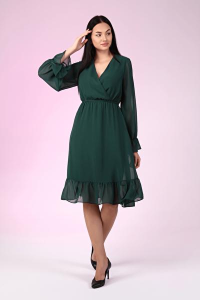 Kadın Zümrüt Yeşili Astarlı Kruvaze Şifon Elbise