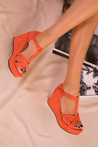 Orange Süet Kadın Dolgu Topuklu Ayakkabı 16176