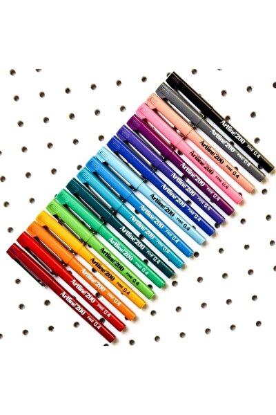200 Fineliner 0.4 mm İnce Uçlu Yazı ve Çizim Kalemi 10 Re
