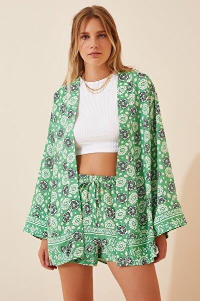 Kadın Yeşil Çiçekli Viskon Kimono Şort Takımı  FN02891