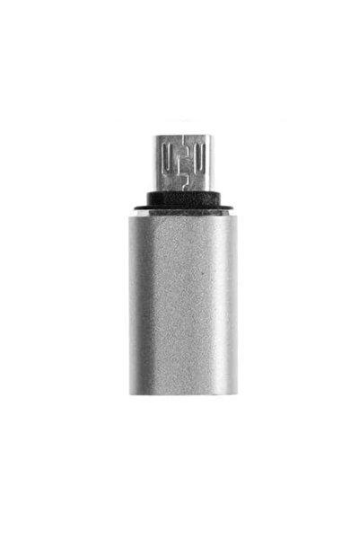 Type-c To Micro Usb Çevirici Şarj Dönüştürücü Adaptör - Gümüş Metal